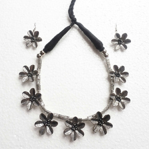 Buy Oxidized Flower Shape Choker Necklace for Women  Oxidised Jewellery Choker - Samreedhi Handicrafts