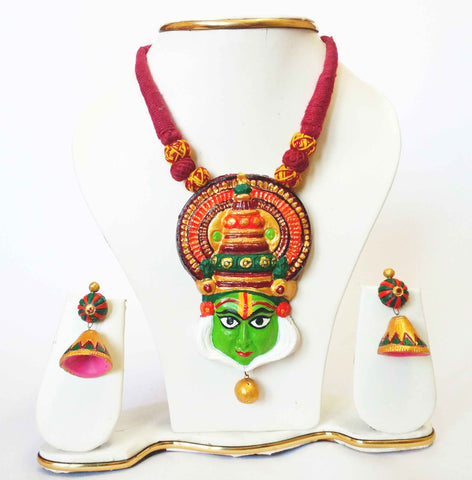 Buy Terracotta Jewellery Kathakali Necklace Set with Jhumka- Samreedhi Handicrafts