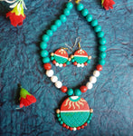 Buy Terracotta Jewellery Set with round big pendant 1- Samreedhi Handicrafts