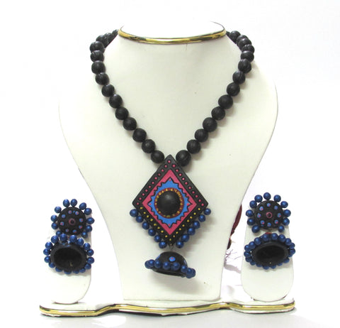 Buy Terracotta  Jewellery set Black with jhumka pendent - Samreedhi Handicrafts