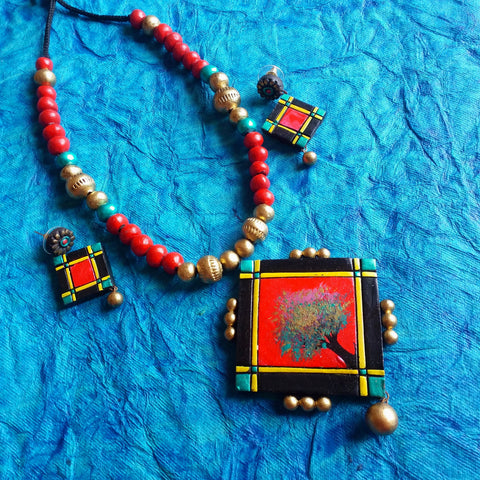 Buy Terracotta Jewelry Set with artistic square pendant - Samreedhi Handicrafts