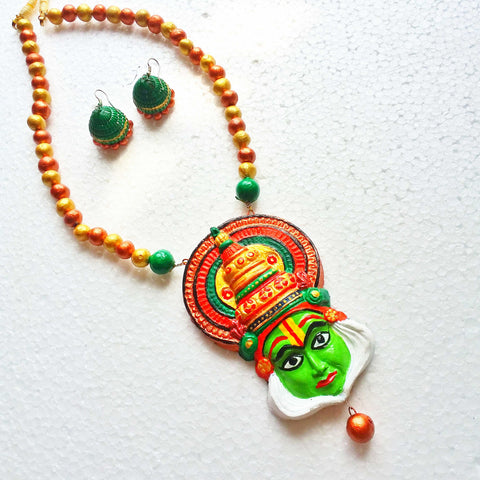 Buy Terracotta jewelry Necklace set kathakali pendant3 - Samreedhi Handicrafts