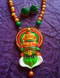 Buy Terracotta jewelry Necklace set kathakali pendant 1- Samreedhi Handicrafts