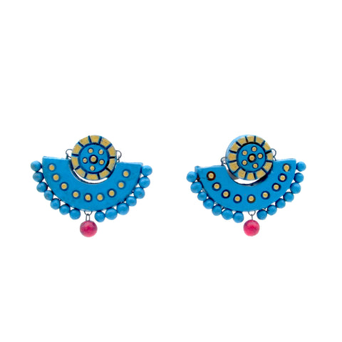 Buy onlineTerracotta Earrings Chandbali studs - Samreedhi Handicrafts