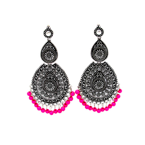 Buy online Oxidised Jewellery Dangle Drop Earrings with pink beads for Women and Girls - Samreedhi Handicrafts