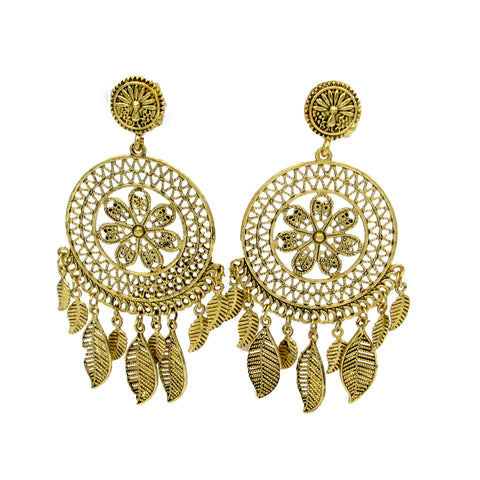 Buy online Oxidised Jewellery antique Gold Chandbali earrings - Samreedhi Handicrafts