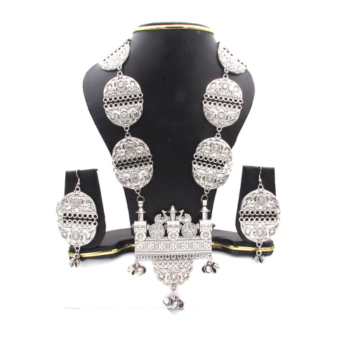 Buy online Oxidised Silver Long Jewellery set for women 7 - Samreedhi Handicrafts