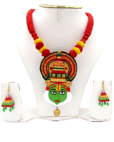 Buy online Terracotta Jewellery Set Kathakali Pendant - Samreedhi Handicrafts