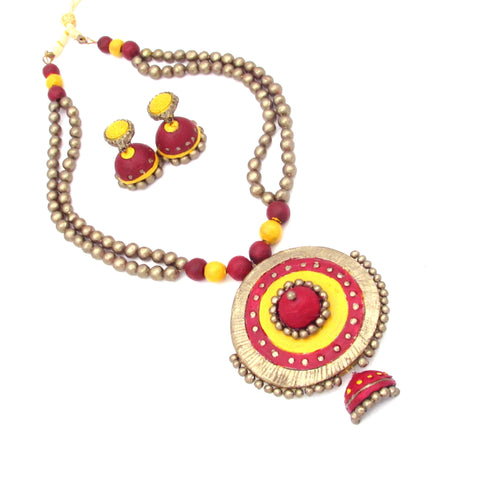Buy online Terracotta Jewellery Set with Big round shape pendant 3- Samreedhi Handicrafts