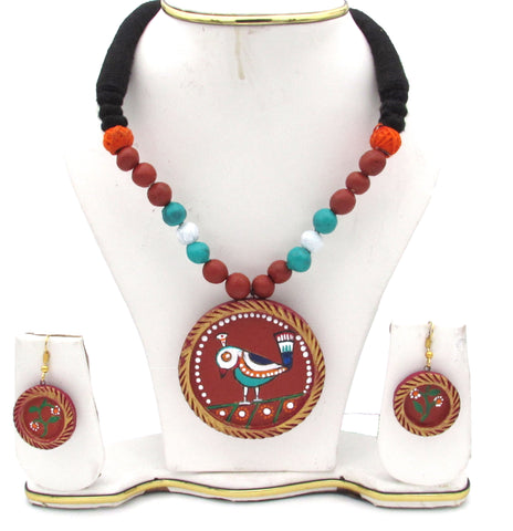Buy online Terracotta Jewellery Set with Jamini Roy painting pendant - Samreedhi Handicrafts