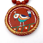 Buy online Terracotta Jewellery Set with Jamini Roy painting pendant 3- Samreedhi Handicrafts