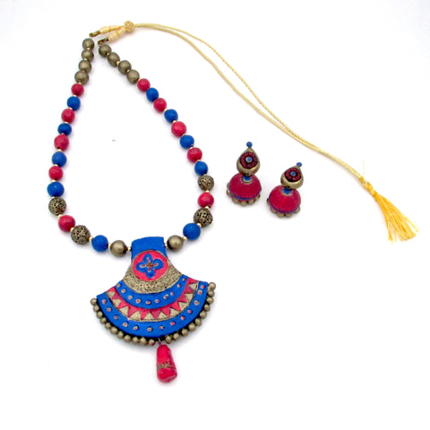 Buy online Terracotta Jewellery Set with Jhumki for women 1 - Samreedhi Handicrafts