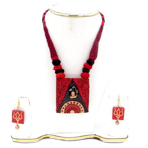 Buy online Terracotta Jewellery Set with Lord Shiva Pendant - Samreedhi Handicrafts