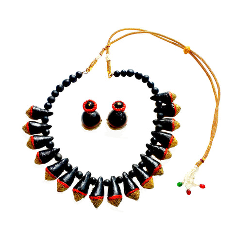 Buy online Terracotta Jewellery set Choker Necklace Set with Jhumka - Samreedhi Handicrafts