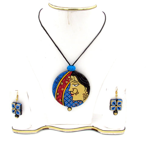 Buy online Terracotta Jewellery set with artistic pendant - Samreedhi Handicrafts