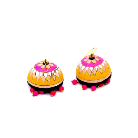 Buy Online Terracotta pink yellow Jhumki Earrings for her 1- Samreedhi Handicrafts