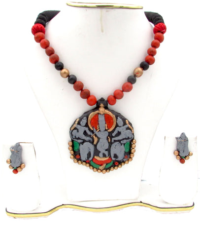Buy online Terracotta jewellery set with Lord Krishna Pendant - Samreedhi Handicrafts