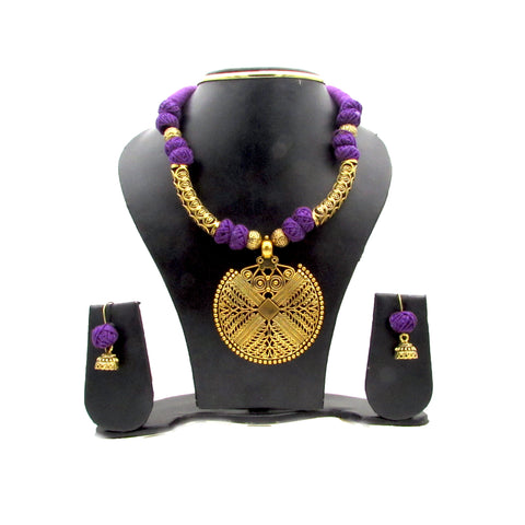 Buy online Trendy Golden Pendant Oxidised Jewellery Set - Samreedhi Handicrafts