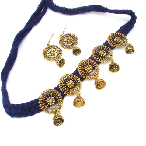 Buy online Trendy Golden choker on blue tassel for her 1 - Samreedhi Handicrafts