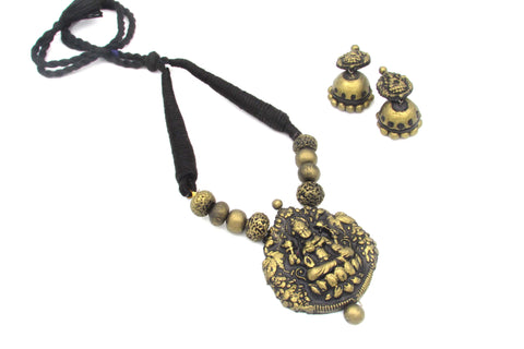 Buy online Antique gold Lakshmi Design Terracotta Temple Necklace Set - Samreedhi Handicrafts