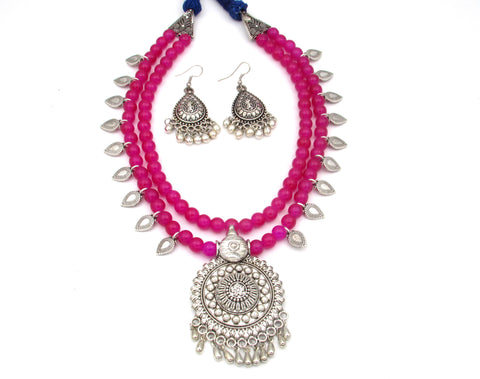 Multi layer oxidised long necklace set for women