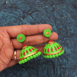 Buy Online Big Terracotta green Jhumka Jhumki 2- Samreedhi Handicrafts