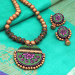 Terracotta Jewellery Set with unique round shape pendant