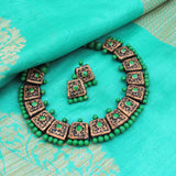 Terracotta Jewellery Set Green Golden Choker