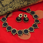 Terracotta choker necklace black geeni set