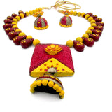 Buy Online Terracotta Jewellery Set Lotus Pendant - Samreedhi Handicrafts