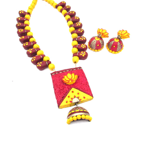 Terracotta Jewellery Set with Lotus pendant for her