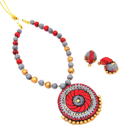 Buy Online Terracotta Jewellery Set With unique design Jhumka 2- Samreedhi Handicrafts