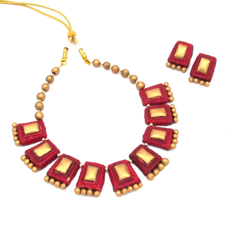 Terracotta Red Golden Choker Necklace