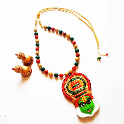 Terracotta Kathakali Jewellery Set with Big Jhumka
