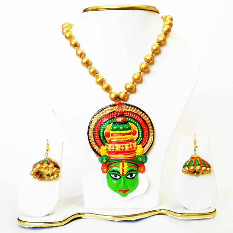 Terracotta Jewelry Set Kathakali Pendant