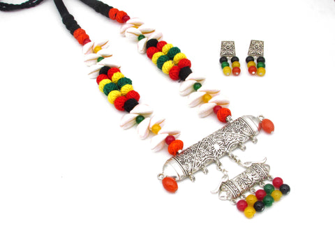 Oxidised multi color long necklace for women-Samreedhi Handicrafts