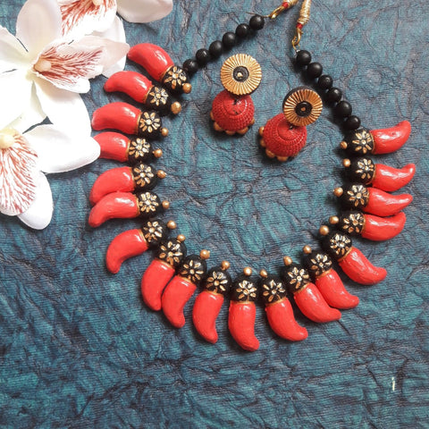 Pink Terracotta Jewellery Jewelry set choker with Jhumka - Samreedhi Handicrafts