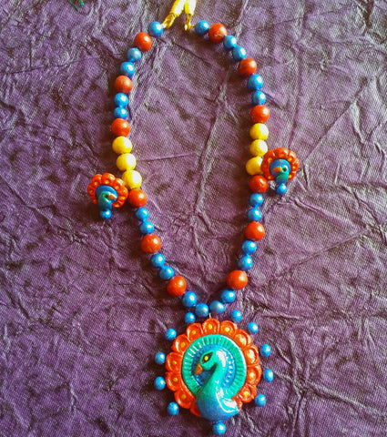 Terracotta Jewellery Peacock Necklace Set Green Samreedhi Handicrafts