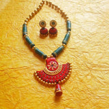 Terracotta Necklace Set with red pendant Jhumka Jhumki