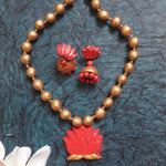 Terracotta Fashion Jewellery  Necklace set Lotus Pendant Set with Lotus stud jhumka