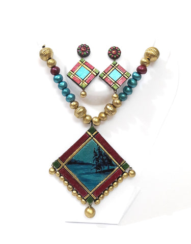 Terracotta Necklace Set square pendent type II