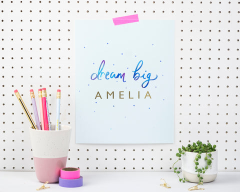 Dream big - personalised typography print