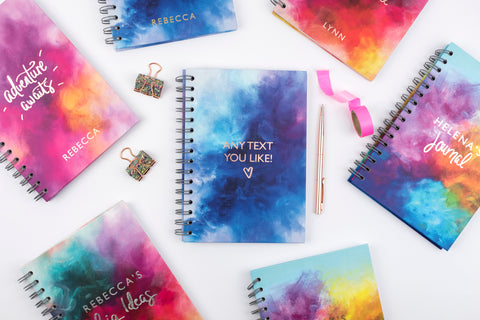 Any text you like notebook, personalised notebook by Rebecca Yates