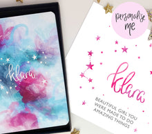 Load image into Gallery viewer, NAME IN STARS PERSONALISED NOTEBOOK AND PRINT GIFT SET