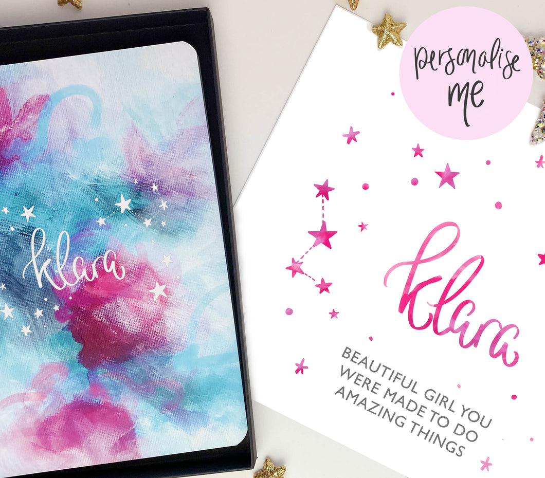 NAME IN STARS PERSONALISED NOTEBOOK AND PRINT GIFT SET