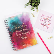 Load image into Gallery viewer, BEAUTIFUL GIRL YOU WERE MADE TO DO AMAZING THINGS - LUXE PERSONALISED NOTEBOOK
