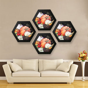Hexagon wood frame hanging photo in home