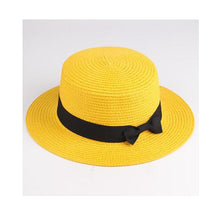 Load image into Gallery viewer, Hat straw  flat  casual  classic