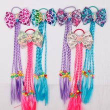 Load image into Gallery viewer, Tie kids colorful long braids headband