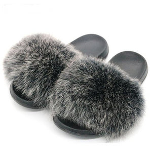 Furry indoor flip flops casual sandals